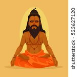 meditating yogi man character.... | Shutterstock .eps vector #523627120