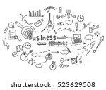 hand draw doodle elements money ... | Shutterstock .eps vector #523629508