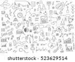 Hand draw doodle elements money and coin icon, chart graph. Concept business finance analytics earnings. Vector illustration. | Shutterstock vector #523629514