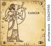 zodiac sign cancer. drawing... | Shutterstock .eps vector #523629550