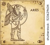 Zodiac Sign Aries. Image Of Th...