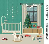 christmas tree in baby room... | Shutterstock .eps vector #523631479