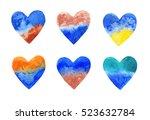 set of watercolor hearts on...   Shutterstock . vector #523632784