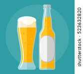 glass of beer and bottle flat... | Shutterstock .eps vector #523632820