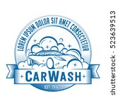 car wash logo. vector and... | Shutterstock .eps vector #523639513