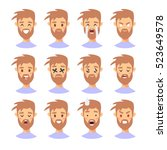 set of male emoji characters.... | Shutterstock .eps vector #523649578