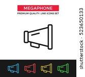 vector megaphone icon. vintage... | Shutterstock .eps vector #523650133