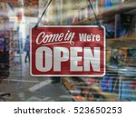 a business sign that says 'come ... | Shutterstock . vector #523650253