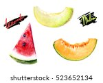 melon  watermelon watercolor... | Shutterstock . vector #523652134
