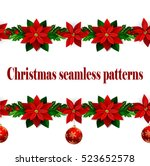 set of n seamless christmas... | Shutterstock .eps vector #523652578