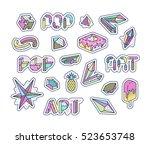 set of vector pop art design... | Shutterstock .eps vector #523653748