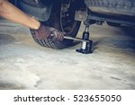 car jack for replacing wheels   ... | Shutterstock . vector #523655050