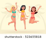 summer vacation. three happy... | Shutterstock .eps vector #523655818