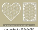 abstract cutout panel and heart ... | Shutterstock .eps vector #523656088