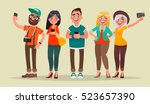 people and gadgets. vector... | Shutterstock .eps vector #523657390