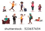 people and gadgets. set of... | Shutterstock .eps vector #523657654