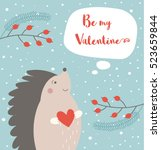 cute hedgehog card with be my... | Shutterstock .eps vector #523659844
