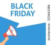 black friday announcement. hand ... | Shutterstock .eps vector #523661086
