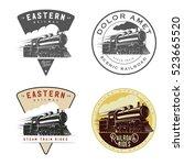 set of vintage retro railroad... | Shutterstock . vector #523665520
