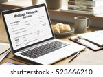 mortgage refinance application... | Shutterstock . vector #523666210