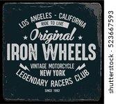 vintage biker graphics and... | Shutterstock .eps vector #523667593
