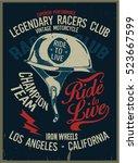 vintage biker graphics and... | Shutterstock .eps vector #523667599