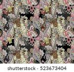 amazing paisley elements unique ... | Shutterstock . vector #523673404