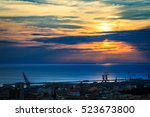 the city of trieste in a summer ... | Shutterstock . vector #523673800