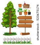 gardening items with tree and... | Shutterstock .eps vector #523675174