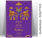 indian wedding card  elephant... | Shutterstock .eps vector #523677313