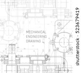 mechanical engineering drawing. ... | Shutterstock .eps vector #523679419