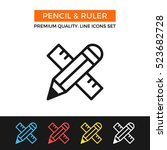 vector pencil and ruler icon.... | Shutterstock .eps vector #523682728