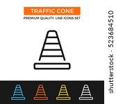 vector traffic cone icon.... | Shutterstock .eps vector #523684510