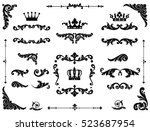 ornate scroll and decorative... | Shutterstock .eps vector #523687954