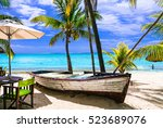 amazing tropical holidays.... | Shutterstock . vector #523689076