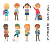 cute international pupils with... | Shutterstock .eps vector #523691533