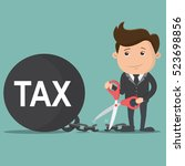 business man cutting tax burden ... | Shutterstock .eps vector #523698856