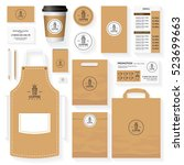 coffee corporate identity... | Shutterstock .eps vector #523699663