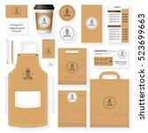 coffee corporate identity... | Shutterstock .eps vector #523699663