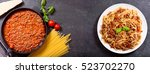 plate of pasta bolognese and... | Shutterstock . vector #523702270