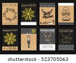 vector set christmas... | Shutterstock .eps vector #523705063