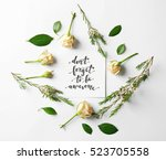 Stock photo quote dont forget to be awesome written on paper with roses and leaves on white background top 523705558
