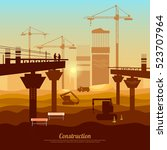 large construction site vector  ... | Shutterstock .eps vector #523707964