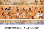 ancient egypt scene  mythology. ... | Shutterstock .eps vector #523708204