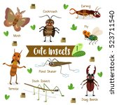 cute insects creature cartoon... | Shutterstock .eps vector #523711540