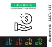 vector hand and coin icon.... | Shutterstock .eps vector #523714858