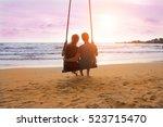 romantic couple is sitting on... | Shutterstock . vector #523715470