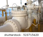 oil and gas platform in the... | Shutterstock . vector #523715620