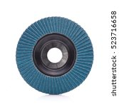 Small photo of Abrasive wheel isolated on white background