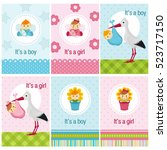 set of cards with baby girl and ... | Shutterstock .eps vector #523717150